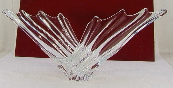 1017: Large Clear Glass Freeform ART VANNES Vase FRANCE