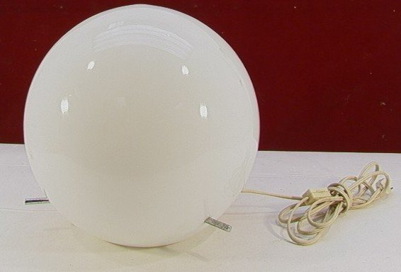 1018: Electric Table Lamp White Glass Globe.  Round whi