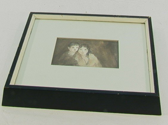 1022: TOM GAUGHAN Watercolor Portrait Mother & Child. A