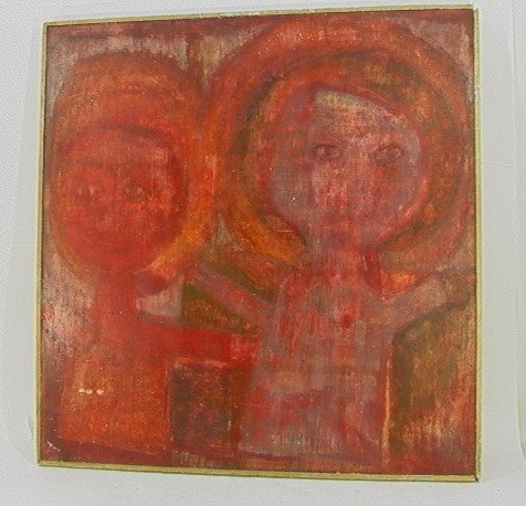 1023: Oil on Board RONALD J STEIN Painting LISTEN.  Red