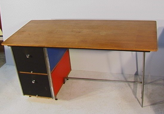 1057: Eames ESU Series Desk with Red White Blue Panels.