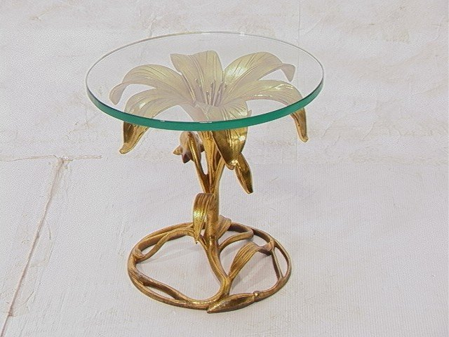 1: Arthur Court Gilt Metal Flower Side Table.  .75in