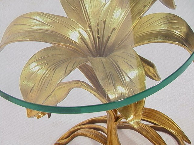 1: Arthur Court Gilt Metal Flower Side Table.  .75in - 4