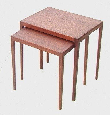 4: L. Pontoppidan Danish Teak Nesting Tables.  Label