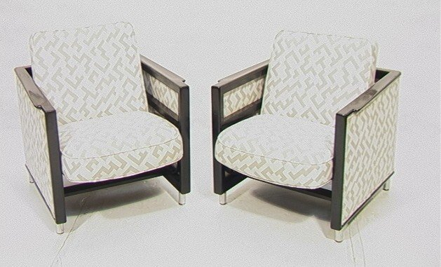 7: Pair Dunbar Lounge Chairs.  Ebonized frames.  Roc