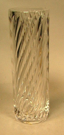 9: Orrefors Tall Crystal Vase with Twisted Design.