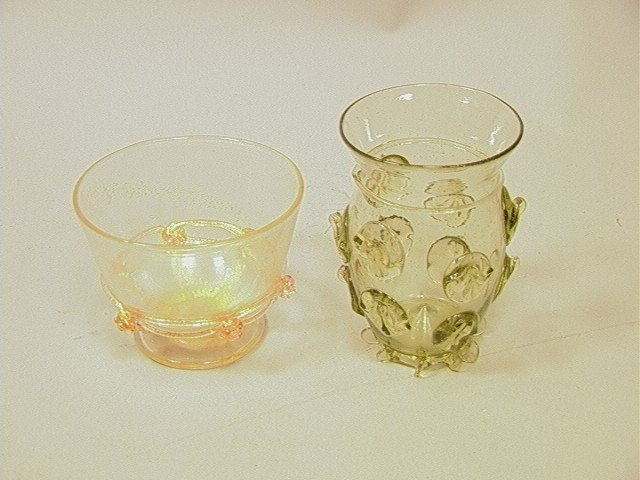 12: 2pcs Murano Glass.  Seguso  Bowl with applied ros