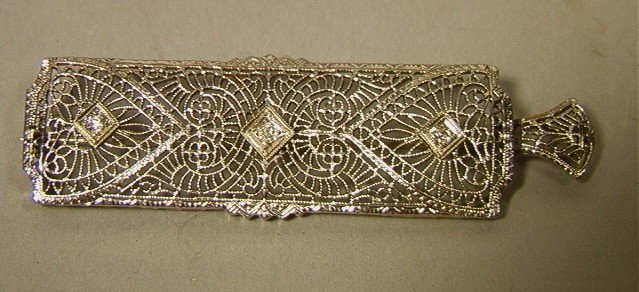 2: Edwardian 14K Gold Filigree Pin Pendent with 3 sm