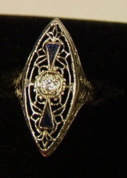 6: 18K Gold Filigree Ring with Small Diamond.  White
