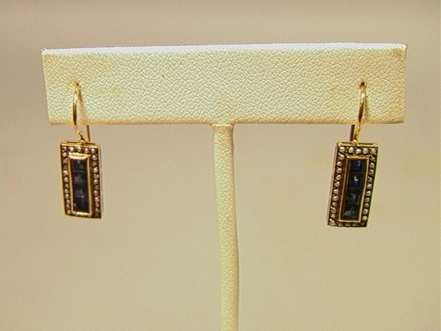 11: 14K Gold Sapphire and Seed Pearl Earrings.  Class