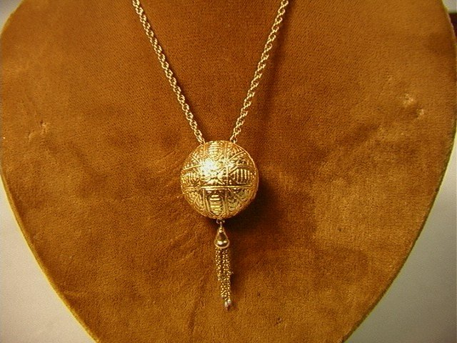 13: 14K Gold Slide Chain Necklace with Hidden Watch B