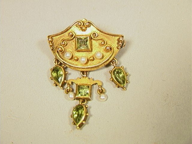 17: Fancy Victorian 14K Gold Pin with Peridot and See