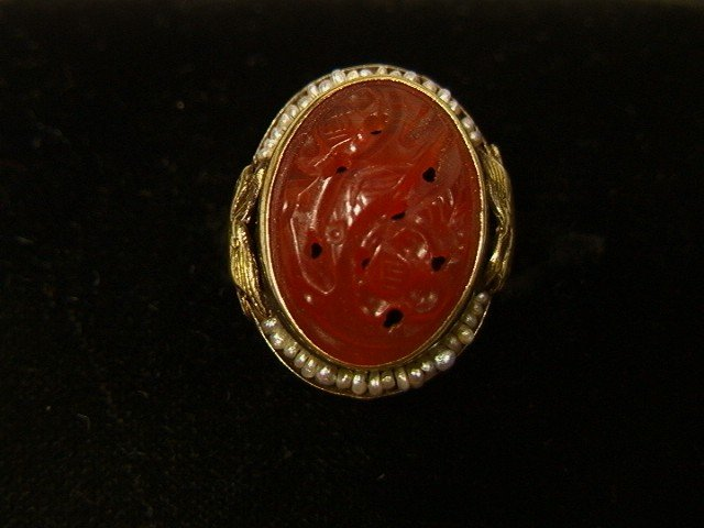 21: 14K Gold Ring with Carved Carnelian and Seed Pear