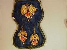 78 Victorian Gold Brooch Pin and Earrings  Set with
