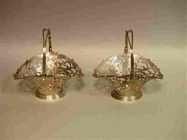 Pair UNGER BROTHERS Sterling Handled Baskets. Two