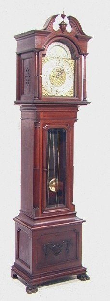 401: MUHRS Sons Mahogany tall case Grandfather clock w