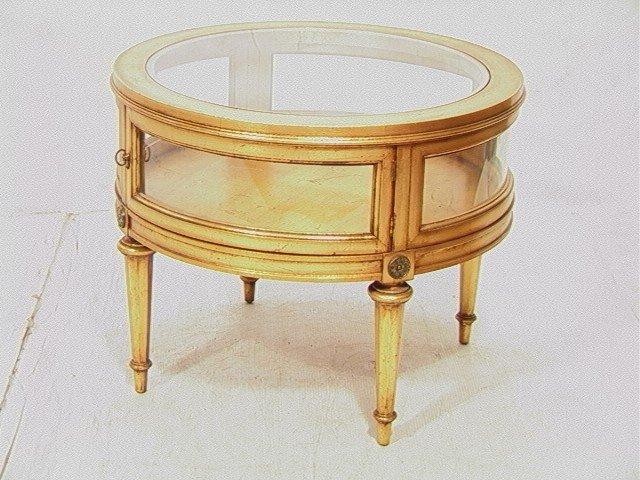 432: Round Gold Gilt Vitrine Curio table.