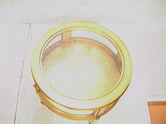 432: Round Gold Gilt Vitrine Curio table. - 2