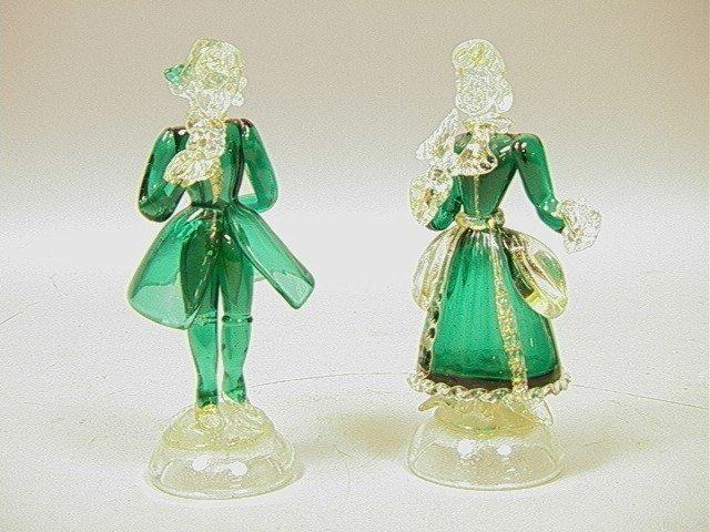 8: Pr Small Venetian Glass Sculptures.  Green glass