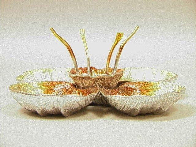 13: Michael Aram Caviar Dish Set.  Enameled.  Five di