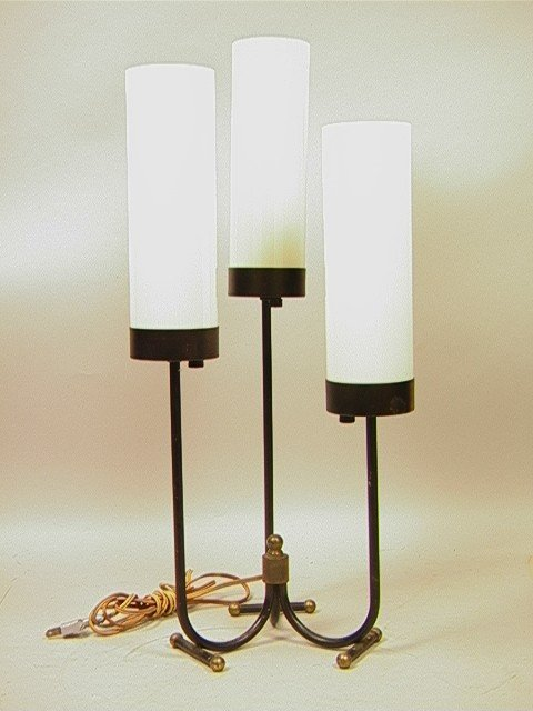 23: Modernist JACQUES ADNET style Iron Table Lamp wit