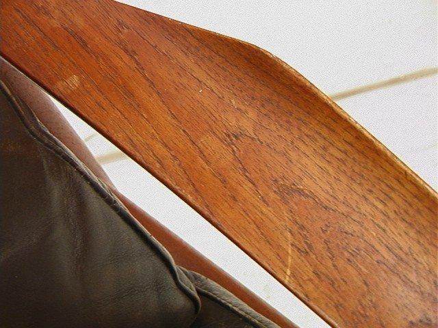 122: Leather Danish Modern TEAK Lounge Chair. GIOSTRUP - 4