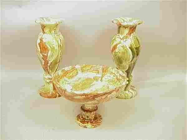 3 Pcs Green Onyx Specimen Center Bowl 2 Urn Vases