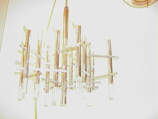 273: SCIOLARI Chrome Lucite Hanging Chandelier. 9 Bulb
