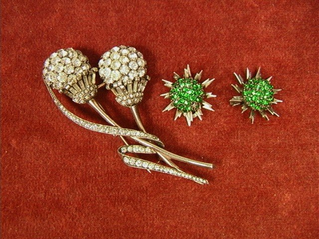 5: PENNINO Sterling Pin and Green Rhinestone Earring