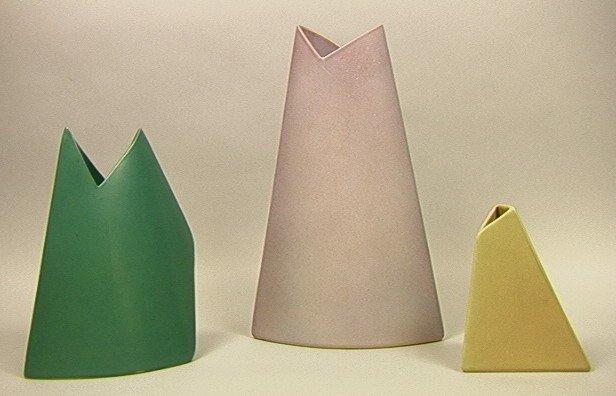 1: 3 pc JAMES JOHNSTON Studio Pottery Vases. Three M