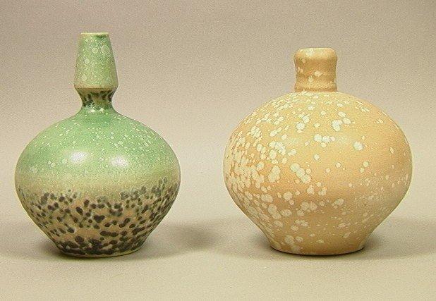 8: 2 pcs. JOHN TILTON Crystalline Glaze Studio Potte