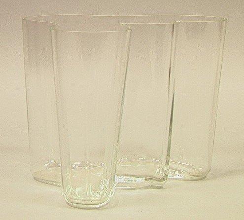 """10: ALVAR AALTO Clear Amoeba 6.5"""" Vase. Acid marked A"""