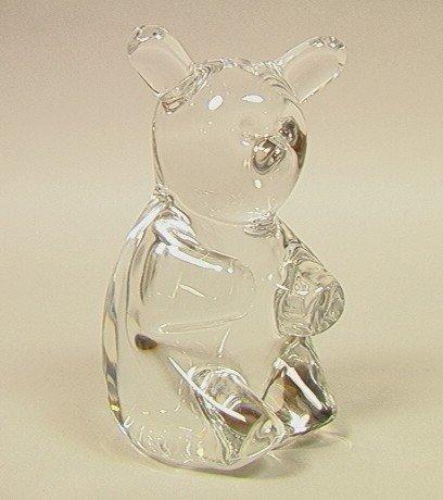 13: DAUM France Art Glass Sculpture Bear.  Crystal Te