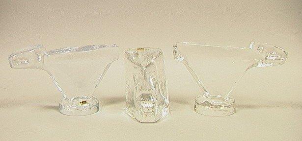 15: ERIK HOGLUND Sweden BODA Art Glass 3 pc Lot. Two