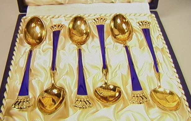 17: Set 6 Danish Sterling Enamel Demitasse Spoons. Co
