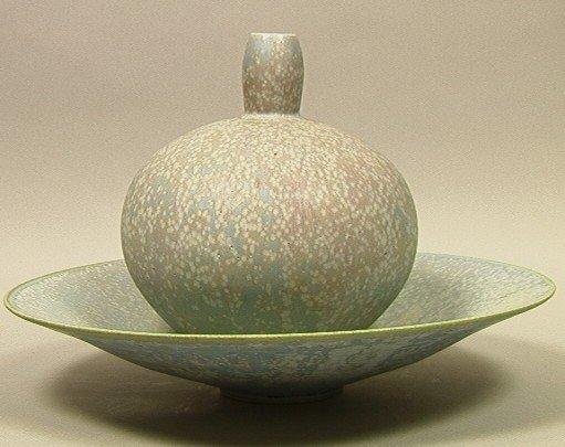 18: 2 pc JOHN TILTON Studio Ceramic Vases. One Large