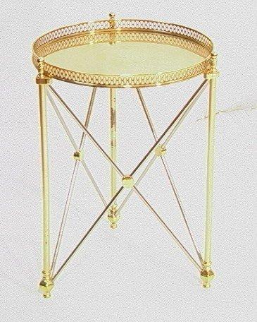 22: Brass & Chrome REGENCY Style Side Tabouret Table.