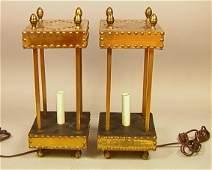 Pr Brass Lantern Style Table Lamps. Brass Lantern