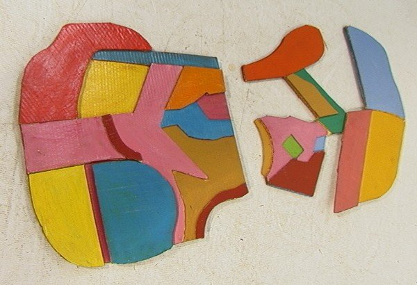 448: Pr STUART EGNAL Cardboard Collage. Acrylic Painti