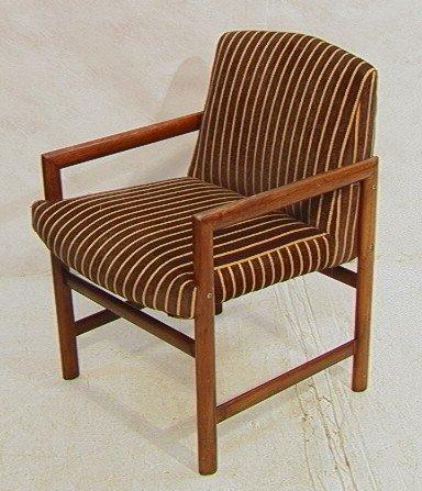565: Modernist Open Arm Lounge Chair. Walnut or Teak.