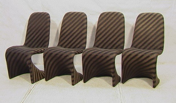 603: Set 4 Fabric Covered 70's Dining Chairs. Molded P