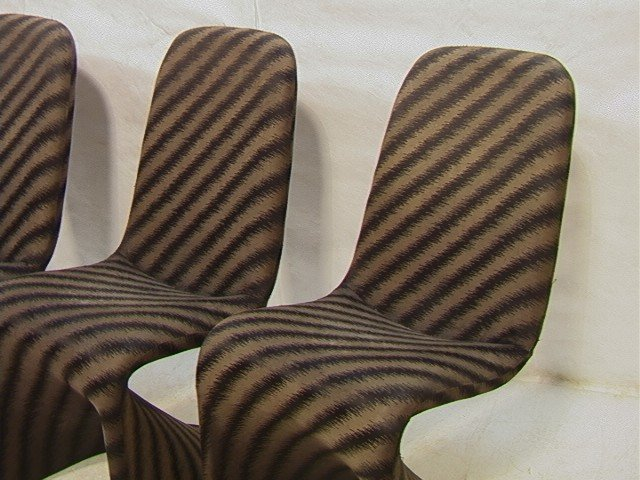 603: Set 4 Fabric Covered 70's Dining Chairs. Molded P - 2
