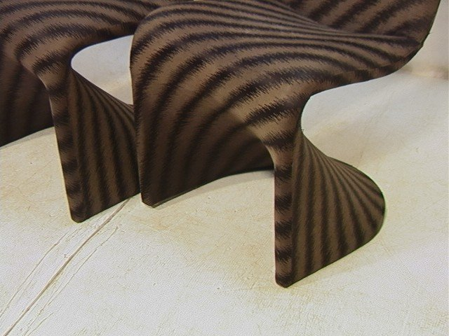 603: Set 4 Fabric Covered 70's Dining Chairs. Molded P - 3