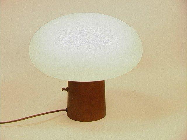 3: LAUREL Mushroom Table Lamp.  Glass Shade on wood