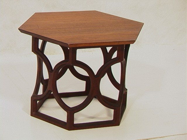 4: HARVEY PROBBER style Hexagonal Side Table. Open w