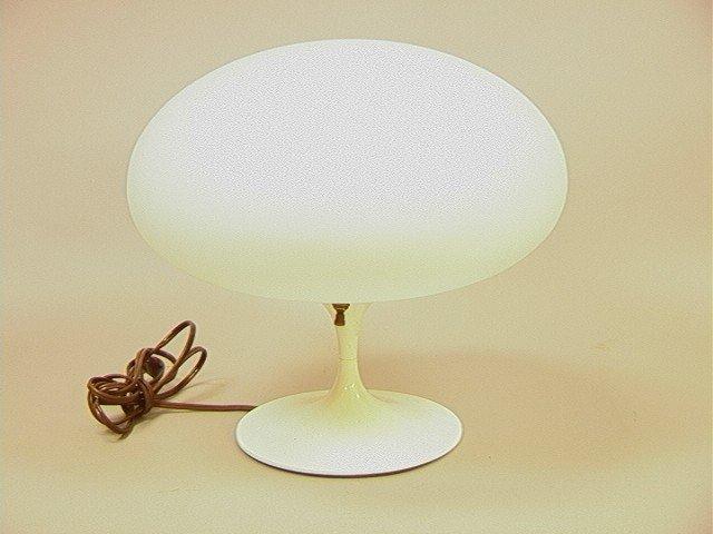 7: LAUREL Frosted Glass Mushroom Lamp.  White Enamel