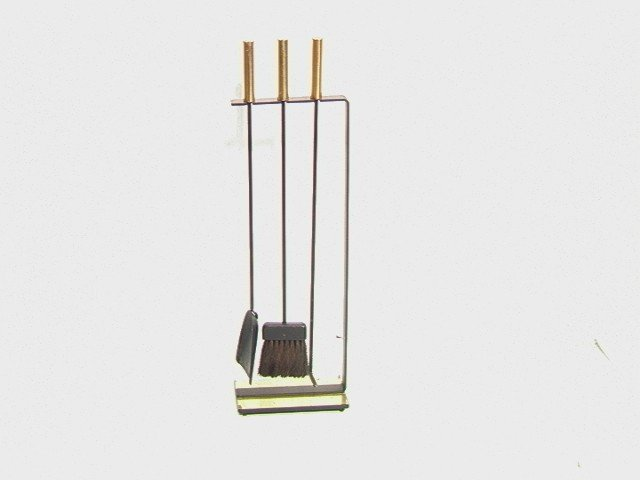 10: Moderne Brass and Iron Fireplace Tool Set.  Linea