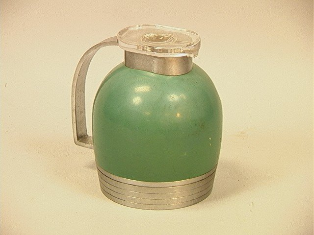 20: HENRY DREYFUS Aluminum Thermos. Fitted Glass Lid.