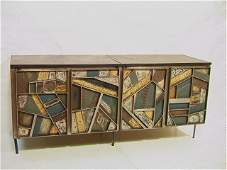 139: Style of PAUL EVANS Steel PATCHWORK Credenza