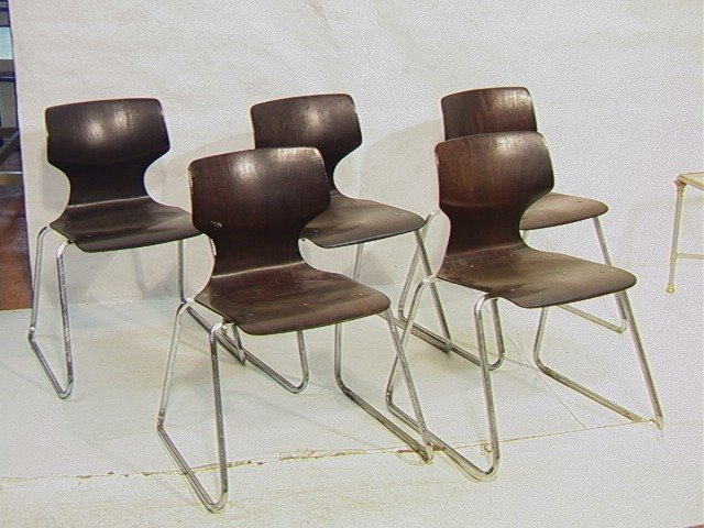168: Lot 5 FLOTOTTO PAGWOOD PAGHOLZ Stacking Chairs. E